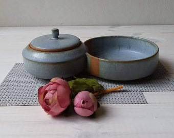 Ceramic Bowl With Lid, Blue/Gray Ceramic Bowl Set, Double Bowl,Joined Ceramic Bowls,Ceramic Snack Set,Chip And Dip Bowls,Ceramic Snack Bowls