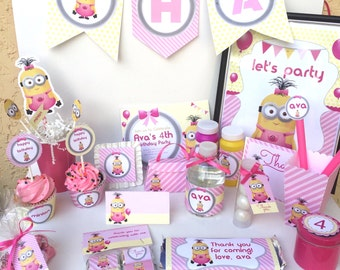 Girl Minion Party | Minion Girl Birthday | Pink Minion Party | Minion Girl Decor | Girl Minion Invitation | Despicable Me Party | Fluffy