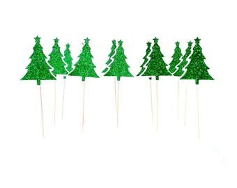 Green Sparkle Christmas Tree Cupcake Toppers, Christmas Party Appetizer Picks, Holiday Dessert-Cake Picks, Set of 12, TwoSistersGreetings