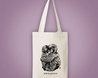 Sac cabas en toile coton recyclé singe AMOUREUX (monkey in love) animal totem 2017 Saint Valentin illustration