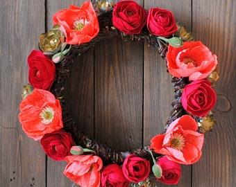 SALE! -50% Front Door Wreath, paper flowers Wreath, Holiday Wreath, Natural Wreath with paper flowers, wall decor