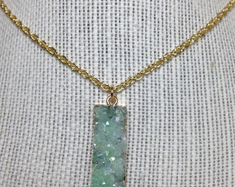 Vertical Mint Green Crystal Necklace