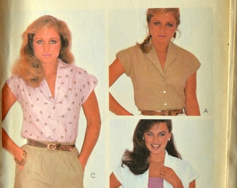 Uncut 1980s McCall's Vintage Sewing Pattern 7509, Size 16; Misses' Blouse
