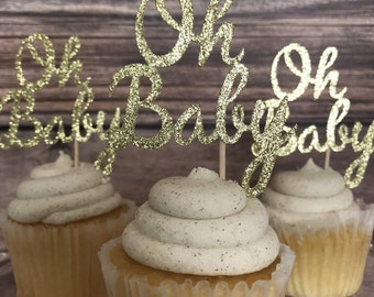Oh Baby Cupcake Topper   Gold Glitter Oh Baby Cupcake Topper  Gender Neutral  Baby Shower