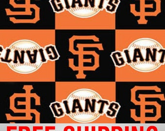 "Fleece Fabric San Francisco Giants MLB 60"" Wide. Free Shipping Style# MLB SANF-6592"