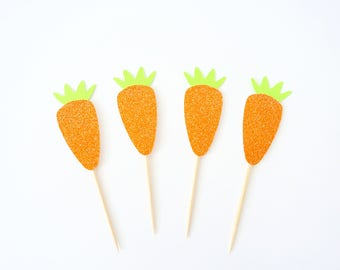 Easter Carrot Cupcake Toppers - Set of 12 - Easter Party Decor, Some Bunny Is One Party, Bunny Party Decor