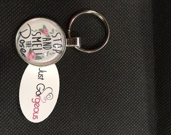 Stop and Smell The Roses Keyring/Necklace