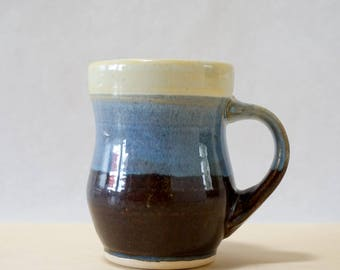 Handmade Mug in Cream, Blue, Brown - Hand Thrown Modern Pottery Contemporary Ceramic Clay Cup, Father's Day Husband Gift for Coffee Lovers