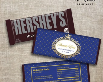 Prince Crown Candy Bar Label | Hershey Chocolate Wrappers | Editable | Printable | Instant Download