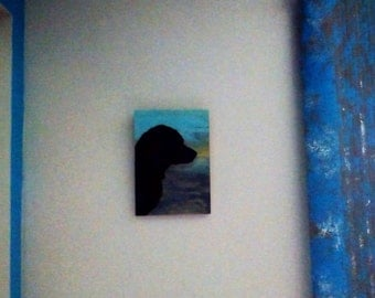 Silhouette Dog in Front of Watery Sunset Wall Hanging