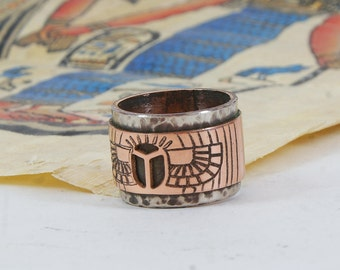 Scarab Copper ring Scarab ring Unisex ring Unique ring Bohemian ring Copper jewelry Gihts for him  Gihts for her Mother ring Mens ring Egypt