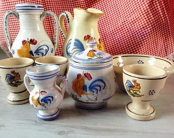 Italian Grottaglie ceramics rustic tableware vintage 8 pieces