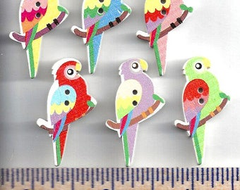 Wooden PARROT BIRD BUTTONS - 2 Hole - Sew Through - Painted - Tropical Birds - Embellishments - 6 Different Colors