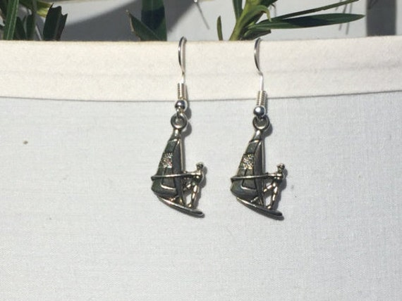 Wind Surfer Antique Silver Earrings