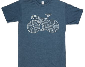 Bike Maze T-Shirt // Water-Based Ink // Super Soft Ringspun Cotton - Poly Blend // Cycling // Bicycle // Road Bike