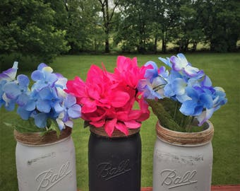 Three Distressed Widemouth Ball Quart Jars, Chalk Painted Jars, Rustic Jars, Country Wedding, Rustic Decor