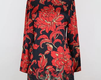 GALANOS 1980s Floral Print Vintage Dress Black Red Gold Silk Satin Brocade Sizes Germany (36)-38 / UK (8)-10 / USA (4)-6