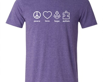 YOUTH Peace Love Hope Autism T-shirt