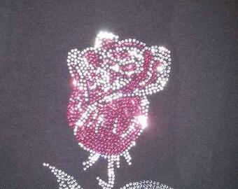 Pink Crystal Rhinestone Single Rose T-Shirt