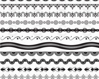12 Borders with matching Corners and Frames - In Black - Vector Clipart