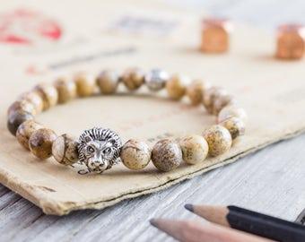 8mm - Brown jasper stone beaded silver Lion head stretchy bracelet, yoga bracelet, mens bracelet, womens bracelet, bead bracelet