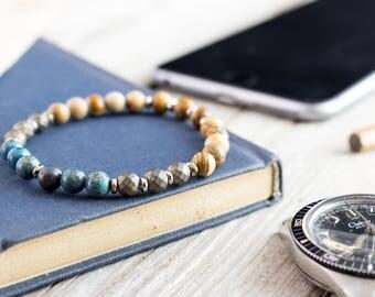 6mm - Blue crazy lace agate, jasper stone and bronze hematite beaded stretchy bracelet, gemstone bracelet, mens bracelet, womens bracelet