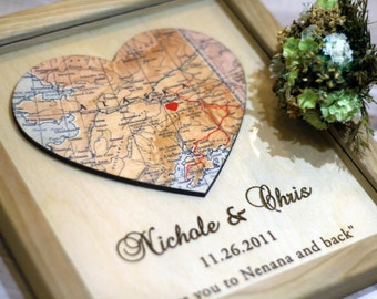 Personalized Map Print Custom Wedding Gift Heart Map Print 3D Map Heart Art Custom City Print Gift for Couple Wedding Gift Anniversary Gift