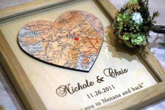 Personalized Map Print Custom Wedding Gift Heart Map Print 3D