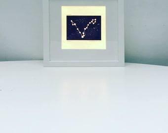 Personalised Light Box Night Light Unique Illuminated Constellation Woodblock Print shadow box frame. Zodiac horoscope star sign Nursery Dec