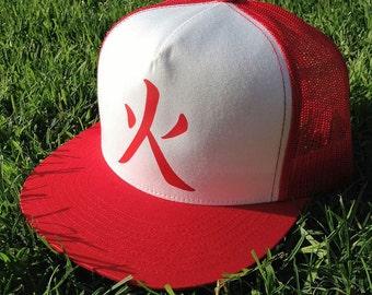 Hokage, Red and White, Trucker Hat, Naruto Anime Style, Anime Hat, Hokage hat, Fire Nation Hat, Hidden Leaf Village, Otaku Hat, Geek Gear
