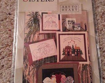Sisters #144 by Nancy Halvorsen - Art to Heart - Sisters Quilt - Stitchery Pillow - Family Stitchery Designs - Uncut Stitchery Pattern