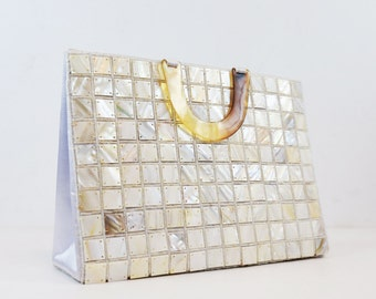 White Iridescent Pearl Satin Handbag with Ombre Handle