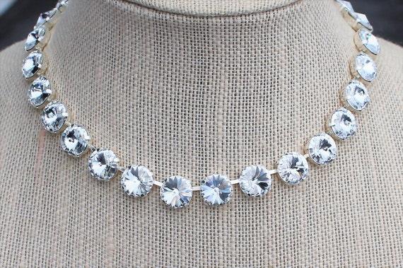 Designer Inspired Swarovski Crystal Choker, empty cup chain choker, Wedding Choker, Prom Choker