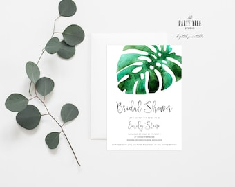 Tropical Bridal Shower Invitation , Green Leaves Bridal Shower Invitation , Printable Bridal Shower Invitation , 5x7 , Modern Bridal Shower
