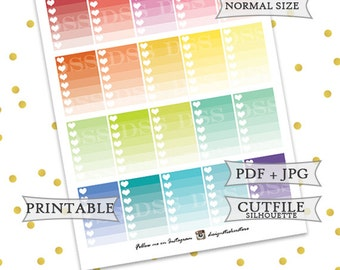Happy Planner Ombre Checklist/Happy Planner Stickers/Mambi Planner Stickers/Printable Happy Planner Stickers/Printable Mambi