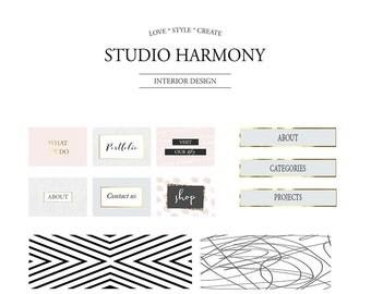 Premade blog kit, Website design, Blogging kit, Website buttons