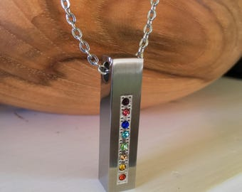 Colorful Stainless Steel & Chakra Crystals Cremation Jewelry | Urn Necklace | Cremation Pendant | Rainbow Bridge Urn Jewelry | Ash Necklace