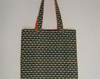 Bag Tote in green wax, white polka dots orange lining