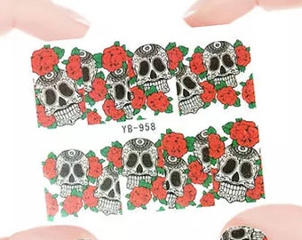 10pcs Red Rose and Skull nail stickers   I5