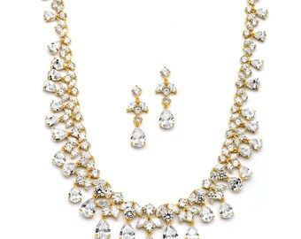 Sparkling Bridal jewelry set, Gold / Silver wedding jewelry set, Wedding necklace set, Bridal necklace earrings, CZ crystal necklace earring