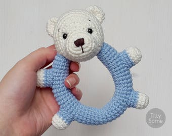 Teddy Bear Rattle Pattern | Crochet Rattle Toy | Baby Rattle | Teether Pattern | Infant Rattle PDF Crochet Pattern