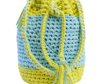 Handbag - Shoulder bag - Knitted bag - Trapilho cotton ribbon hook bag - Women bag - Shopping bag