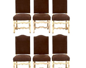 Six French Dining Chairs Os De Mouton Louis XIII Bleached Oak Upholstered [3537]