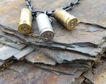 Bullet necklace, bullet jewelry, bullet casing choker, country jewelry, rustic jewelry, 9mm bullet necklace, dangling ammo charm necklace