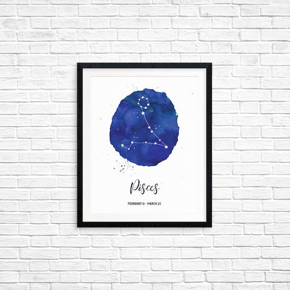 Printable Art, Pisces, February 19 - March 20, Constellation, Zodiac Symbol Art, Art Printable, Home Decor, Digital Download Print