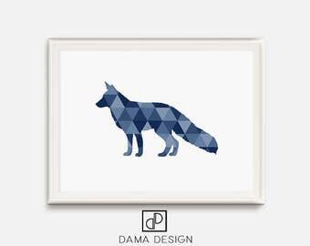 Navy Wall Art, Fox Wall Art, Fox Print, Geometric Animal Print, Triangle Home Decor, Fox Nursery Print, Blue Animal Printable, Downloadable