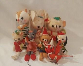 1960s Cute Animal Christmas Holiday Tree Ornaments Set of 8