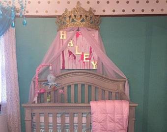 Crown Canopy Wall Decor Choice of Color with Sheers & Crib Crown Canopy Wall Decor Gold with Sheer Panels