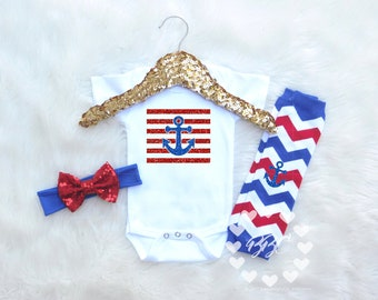 Nautical Baby Clothes, Baby Girl Clothing Set, American, Anchor Clothing for Baby Girls, Red White and Blue, Headband, Leg Warmers Bodysuit