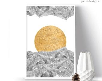 Printable Mountain Print, Winter Poster, Mountain Wall Decor, Modern Poster, Modern Photography Print, Wall Art Decor, Christmas Wall Decor